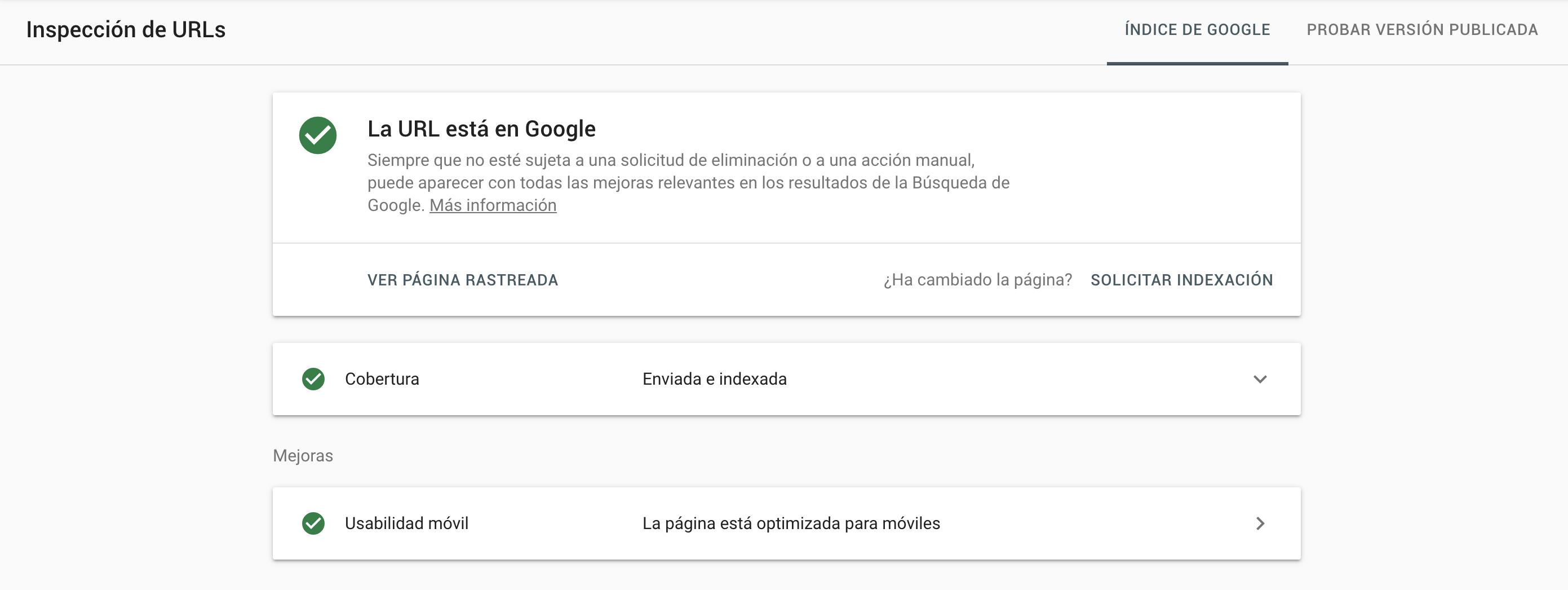 Inspección de URLs - Nueva Google Search Console