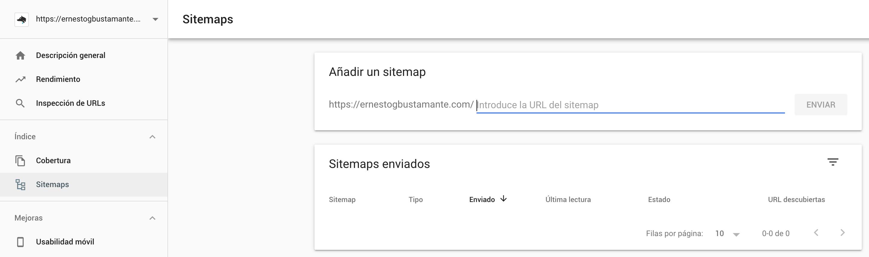 Sitemaps - Nueva Google Search Console