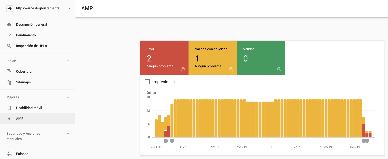 Informe de AMP - Nueva Google Search Console