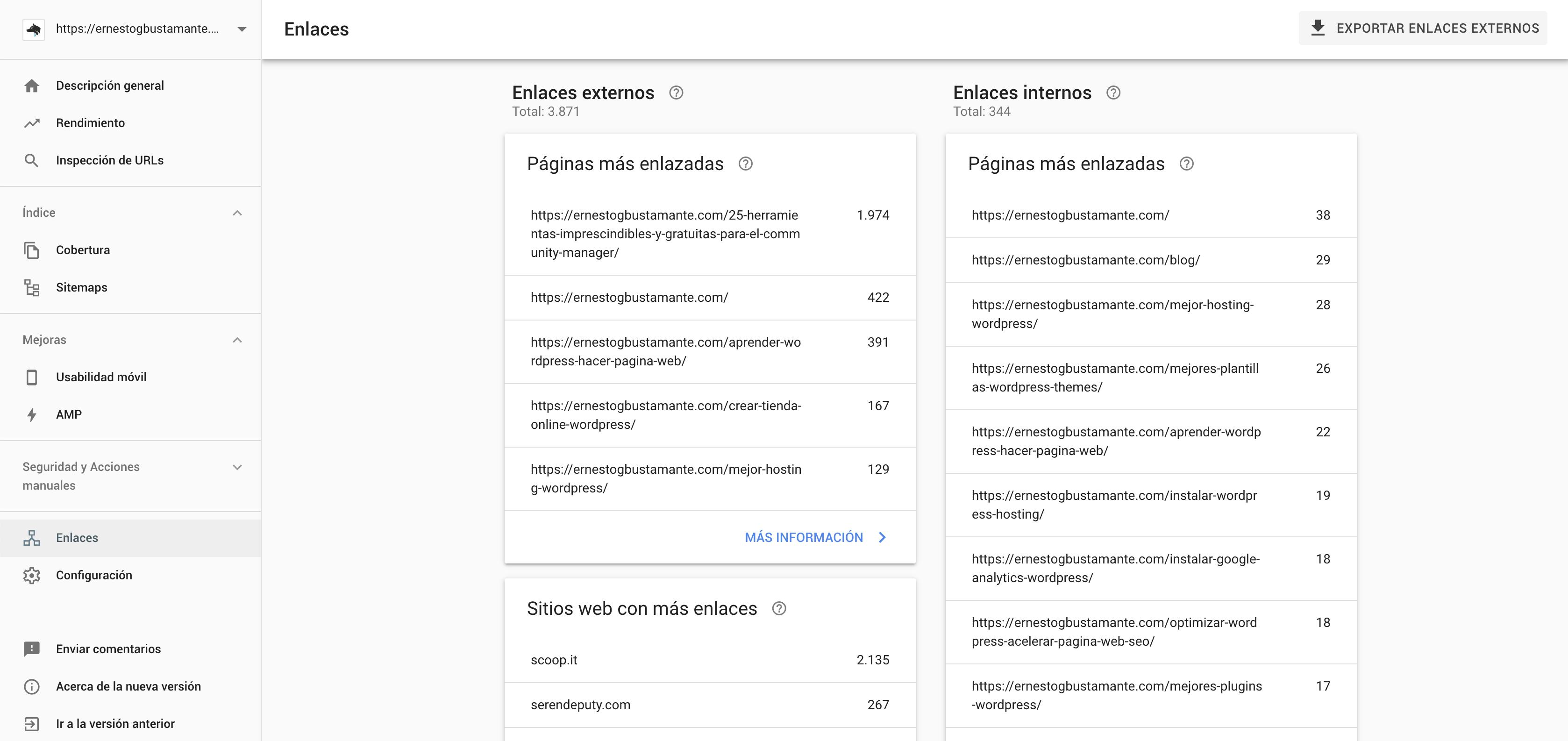 Informe de enlaces - Nueva Google Search Console