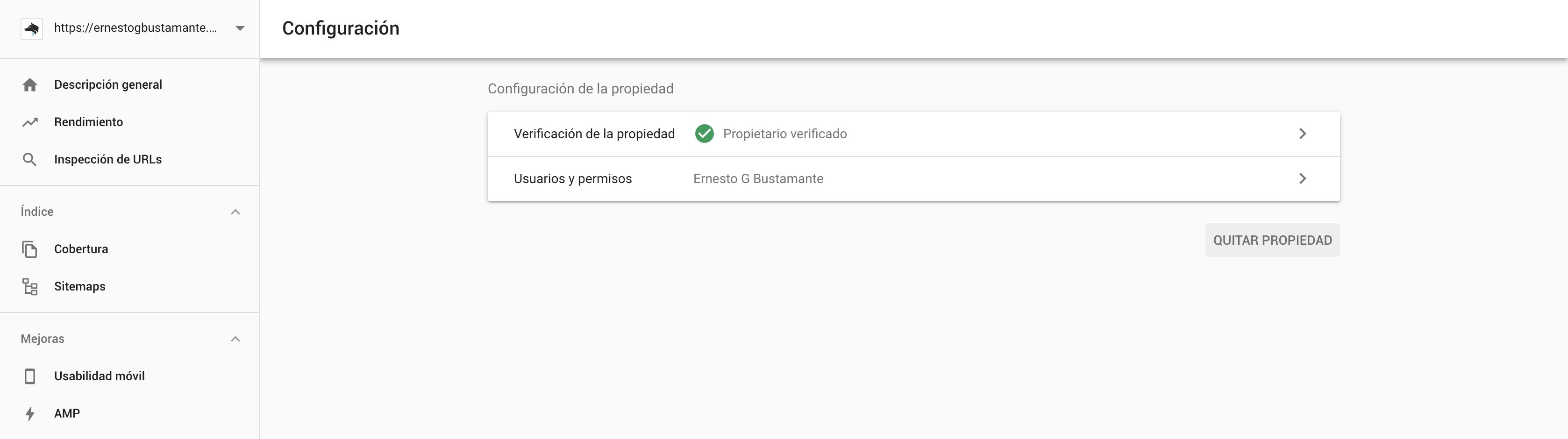Configuración - Nueva Google Search Console
