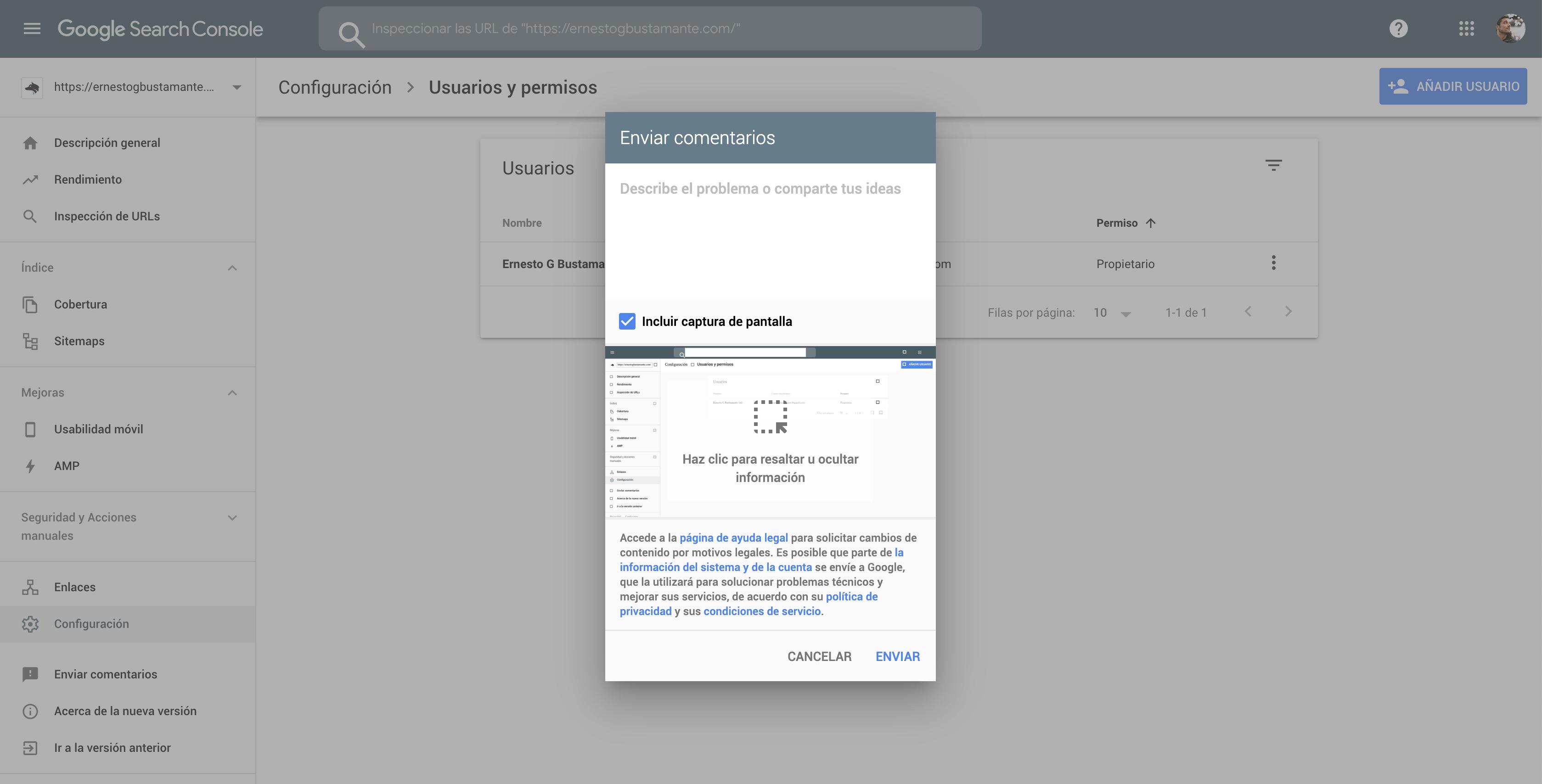 Enviar comentarios - Nueva Google Search Console